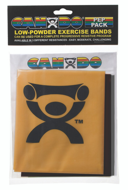 CanDo¨ Low Powder Exercise Band Pepª Pack - Challenging with black, silver and gold band