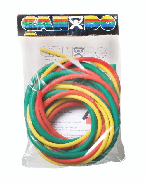 CanDo¨ Low Powder Exercise Tubing Pepª Pack - Easy with Yellow, Red, and Green tubing