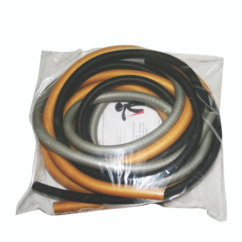 CanDo¨ Low Powder Exercise Tubing Pepª Pack - Challenging with Black, Silver, and Gold tubing