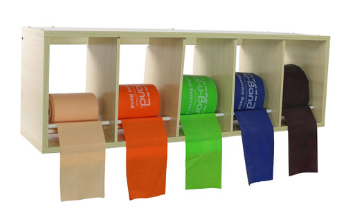CanDo¨ exercise band rack, plastic, 5 rolls, INCLUDING: Val-u-Band¨ - Low Powder - 5 x 50 yard rolls (peach, orange, lime, blueberry, plum)