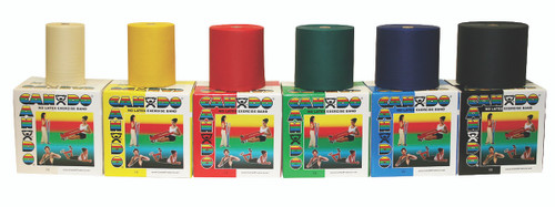 CanDo¨ Latex Free Exercise Band - 50 yard rolls, 5-piece set (1 each: yellow, red, green, blue, black)