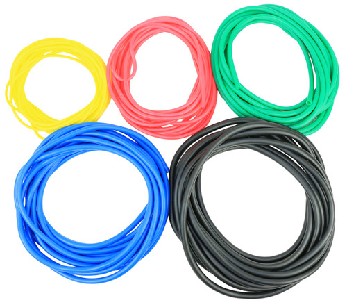 CanDo¨ Latex Free Exercise Tubing - 25' rolls, 5-piece set (1 each: yellow, red, green, blue, black)