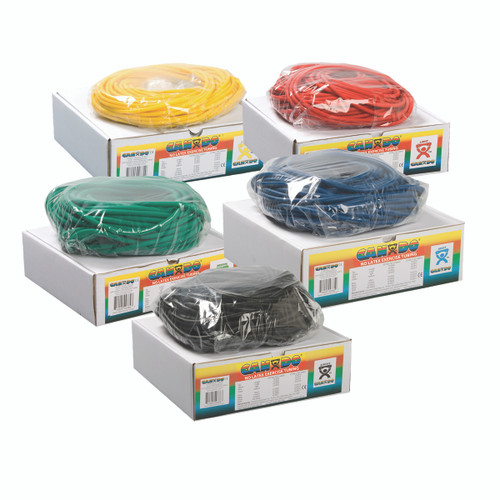 CanDo¨ Latex Free Exercise Tubing - 100' dispenser rolls, 5-piece set (1 each: yellow, red, green, blue, black)