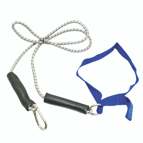CanDo¨ exercise bungee cord with attachments, 4', Blue - heavy