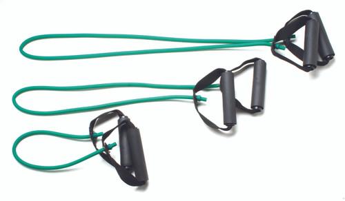 "CanDo¨ Tubing with Handles Exerciser - 3-piece full body set (18"", 36"", 48""), Green, medium"