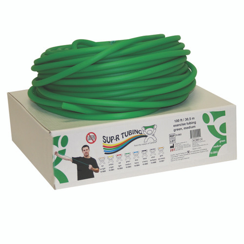 Sup-R Tubing¨ - Latex Free Exercise Tubing - 100' dispenser roll - Green - medium
