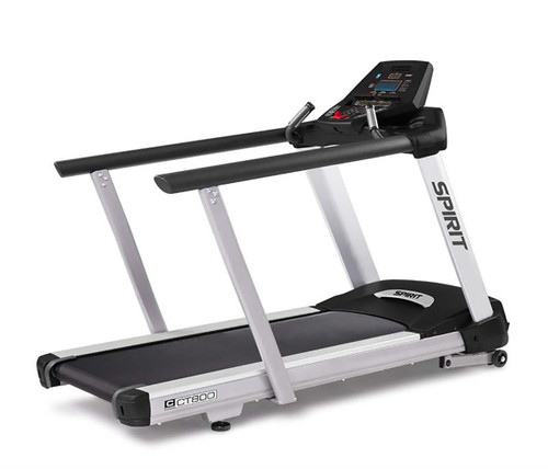 "Spirit CT800 Treadmill with medical handrails, 84"" x 35"" x 57"""