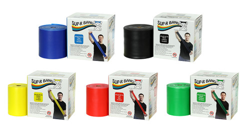 Sup-R Band¨ Latex Free Exercise Band - 50 yard roll - 5-piece set (1 each: yellow, red, green, blue, black)