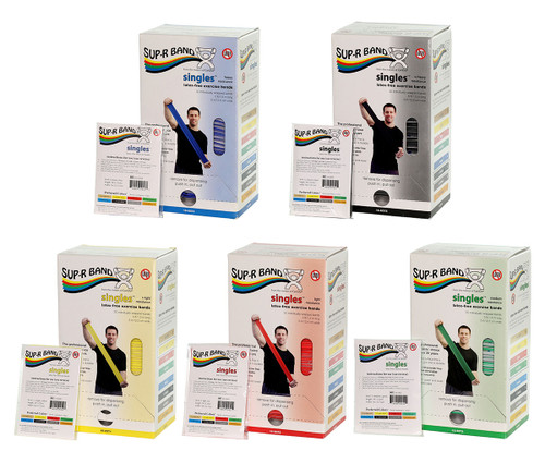 Sup-R Band¨, latex-free, 5 foot Singles¨, 30 piece dispenser, 5-piece set (1 each: yellow, red, green, blue, black)
