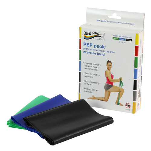 Sup-R Band¨ Latex Free Exercise Band - PEP pack¨, 3-piece set (1 each: green, blue, black)