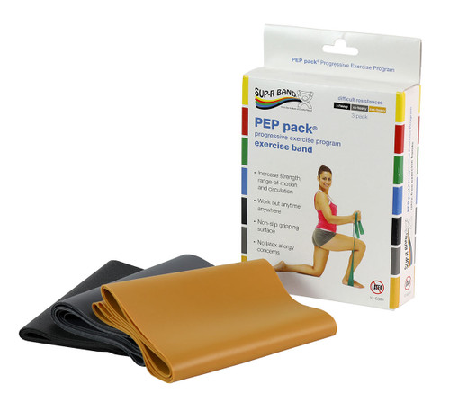 Sup-R Band¨ Latex Free Exercise Band - PEP pack¨, 3-piece set (1 each: black, silver, gold)