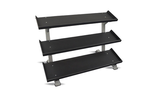 "Inflight 54"" 3-Tier DB Rack - Tray Style (54"" Trays) with a 13 Pair (5-50lb and 3,8,12) Rubber Hex Dumbbell Set"