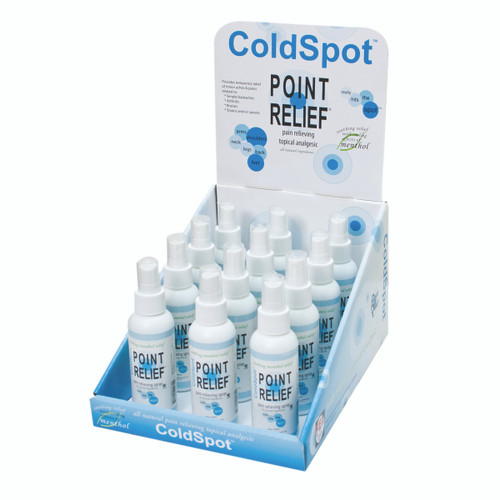 Point Relief ColdSpot Lotion - Retail Display with 12 x 3 oz Spray Bottle
