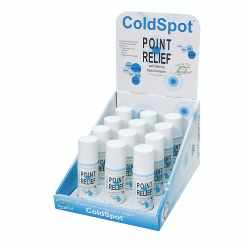 Point Relief ColdSpot Lotion - Retail Display with 12 x 3 oz Roll-on Applicator