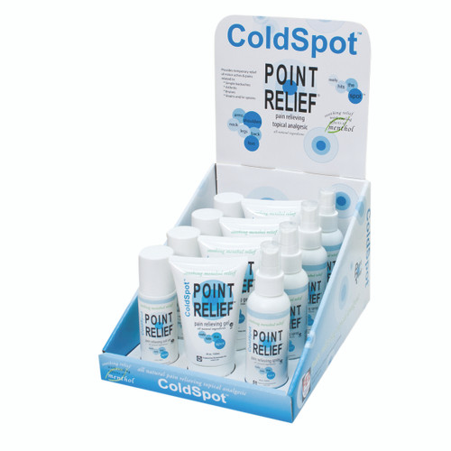 Point Relief ColdSpot Lotion - Retail Display with 4 x 3 oz Spray, 3 oz Roll-on and 4 oz Gel