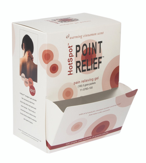 Point Relief HotSpot Lotion - 5 gram packet, Retail box of 100, case of 10