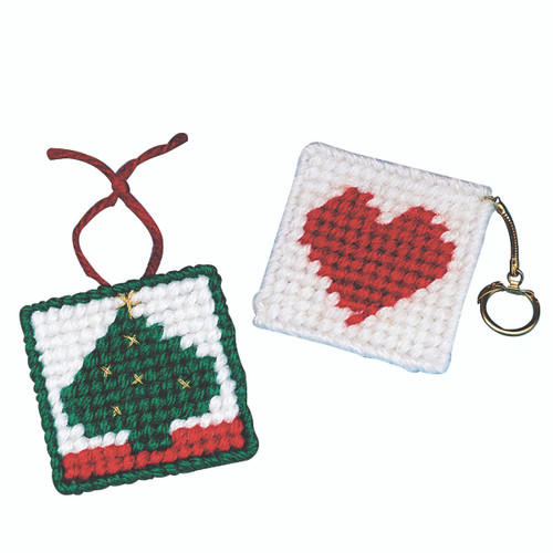 Allen Diagnostic Module Needlepoint Heart Key Rings, Pack of 6