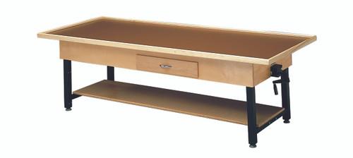 "wooden treatment table - manual hi-low, raised-rim, shelf, drawer, 78"" L x 30"" W x 25"" - 33"" H"