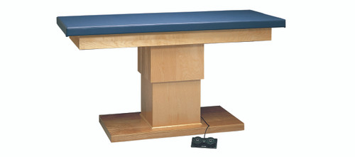 "wooden treatment table - electric hi-low, upholstered, 78"" L x 30"" W x 27"" - 39"" H"
