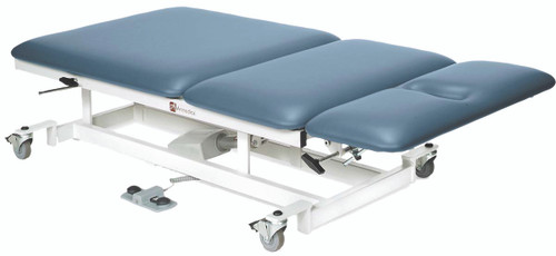 "bariatric treatment table - hi-low, 76"" L x 36"" W x 22 - 38"" H, 3-section, castors, 800 lb. weight capacity"