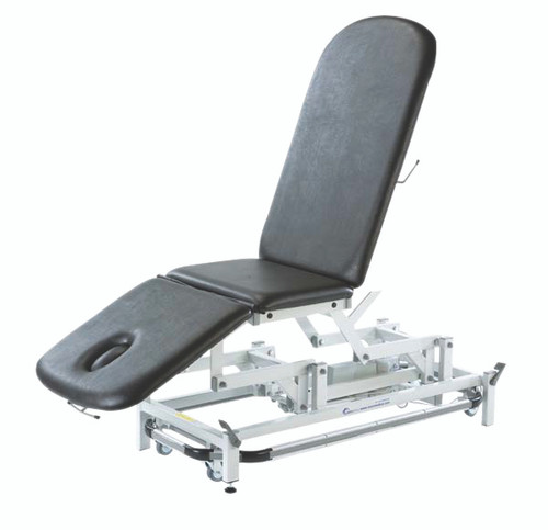 "treatment table - electric hi-low, with foot bar, 78"" L x 28""W x 18"" - 39"" H, 3-section, castors"