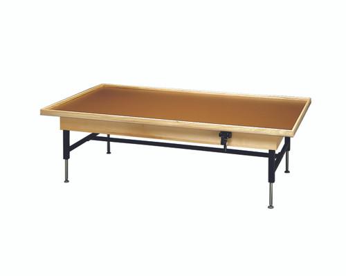 "wooden platform table - manual hi-low, raised-rim, 7' x 3' x (19"" - 27"")"