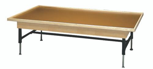 "wooden platform table - economy electric hi-low, raised rim, 8' x 6' x (19"" - 27"")"