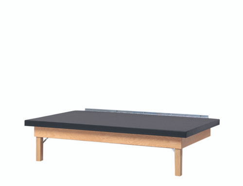 wooden platform table - wall mounted, folding, upholstered, 6' x 3' x 21""