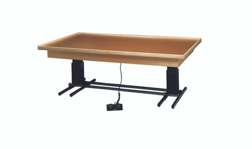 "wooden platform table - deluxe electric hi-low, raised-rim, 7' x 5' x (23"" - 32"")"