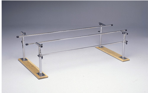 """Parallel Bars, wood base, folding, height and width adjustable, 10' L x 16"""" - 24"""" W x 22"""" - 36"""" H"""