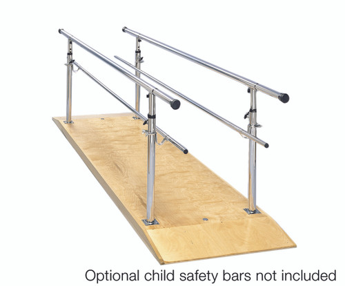 "Parallel Bars, wood platform, height adjustable, 10' L x 30"" W x 26"" - 44"" H"