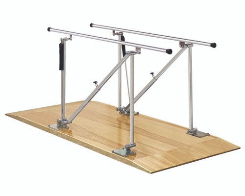 "Parallel Bars, wood platform mounted, height adjustable, 10' L x 22.5"" W x 31"" - 41"" H"