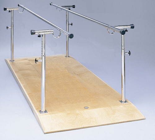 "Parallel Bars, wood platform mounted, height and width adjustable, 10' L x 19"" - 26"" W x 26"" - 44"" H"