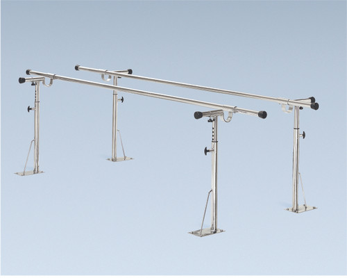 "Parallel Bars, floor mounted, height and width adjustable, 10' L x 6"" W x 26"" - 44"" H"