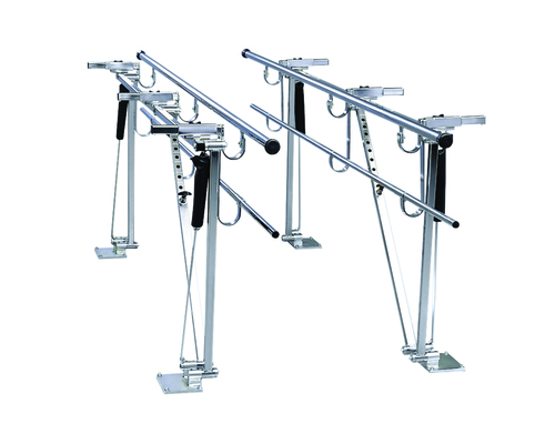 "Parallel Bars, floor mounted, height and width adjustable, 7' L x 8"" W x 31"" - 41"" H"