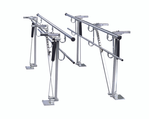 "Parallel Bars, floor mounted, height and width adjustable, 10' L x 8"" W x 31"" - 41"" H"