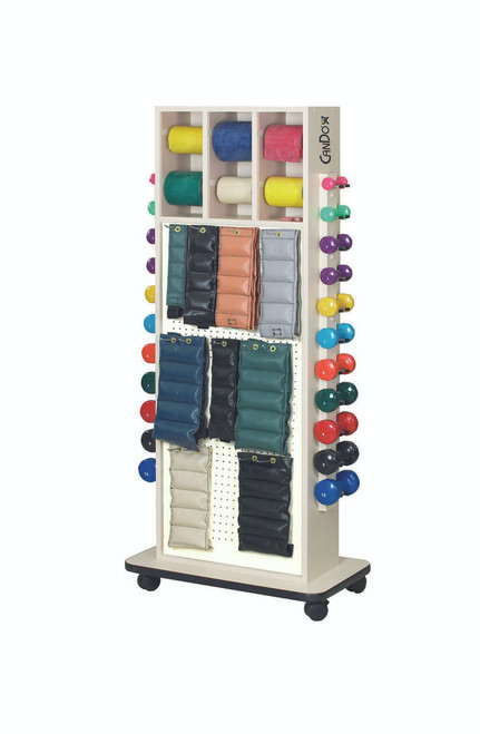 CanDo¨ Weight and Mirror Rack with accessories (Cuff Weights, 50yd band set, dumbbells)