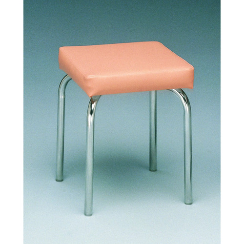 """Stationary stool, no back, square top, 18"""" H, specify upholstery color"""