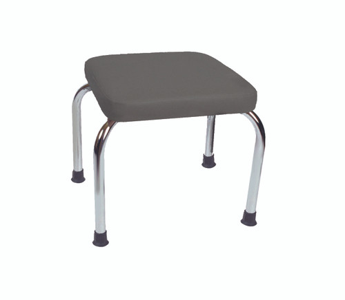 """Stationary stool, no back, square top, 18"""" H, gray upholstery"""