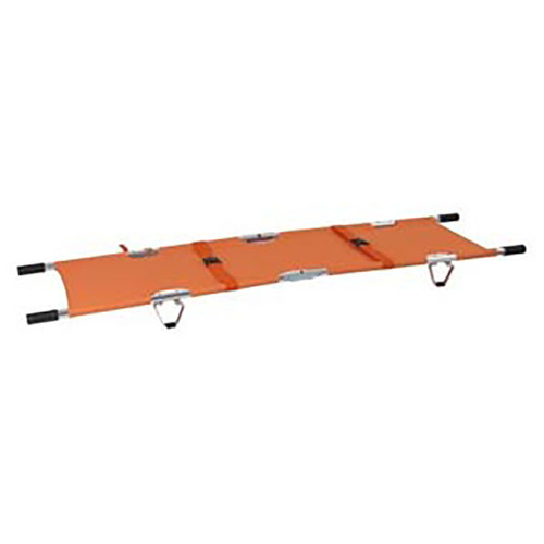 Folding Stretcher with Handles, Aluminum, Orange