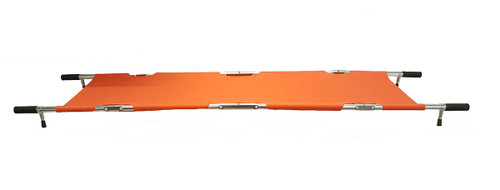 Four Fold Stretcher, Aluminum, Orange with Handles & Bag