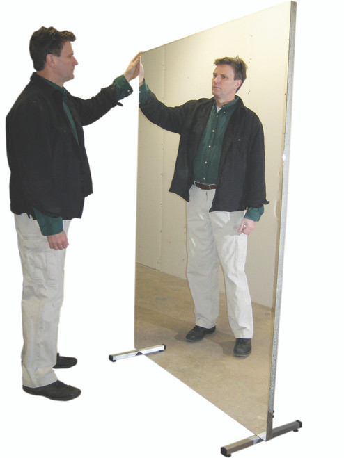 """Glassless mirror, stationary with stand, vertical, 48"""" W x 72"""" H"""