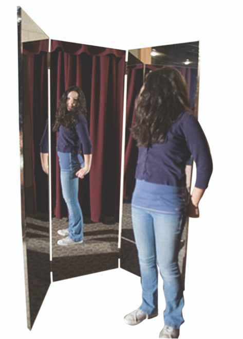 "Glassless mirror, free-standing, triple panel, 16"" W x 48"" H"