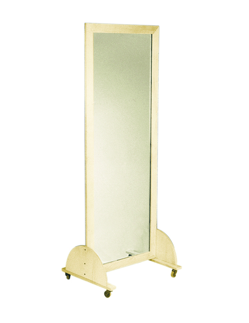 "Glass mirror, mobile caster base, vertical, 28"" W x 75"" H"