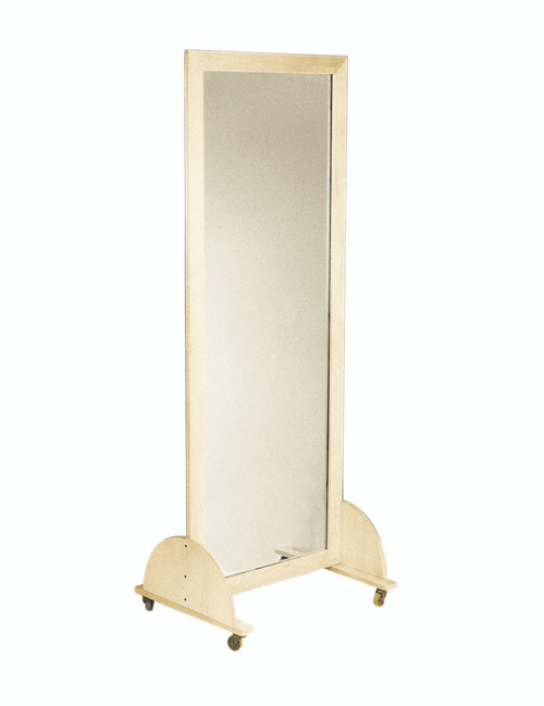 "Glass mirror, mobile caster base, horizontal, 28"" W x 75"" H"