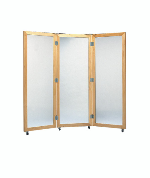 "Glass mirror, mobile caster base, 3-panel mirror, 28"" W x 75"" H"