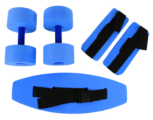 CanDo¨ deluxe aquatic exercise kit, (jogger belt, ankle cuffs, hand bars), small, blue