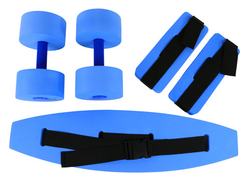 CanDo¨ deluxe aquatic exercise kit, (jogger belt, ankle cuffs, hand bars), medium, blue