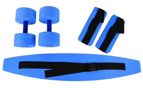 CanDo¨ deluxe aquatic exercise kit, (jogger belt, ankle cuffs, hand bars), large, blue