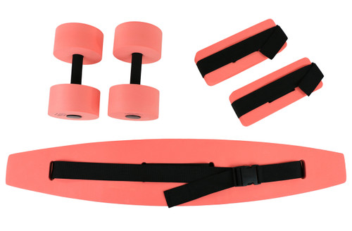CanDo¨ deluxe aquatic exercise kit, (jogger belt, ankle cuffs, hand bars), large, red
